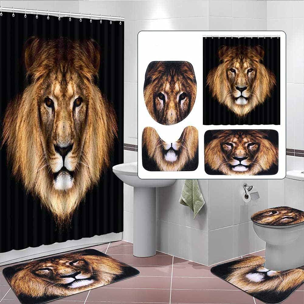 BBSET 4Pcs African Lion Black Shower Curtain Set with Non-Slip Pedestal Rug and Toilet Lid Cover Bathroom Bath Mat Doormat Waterproof Shower Curtain with 12 Hooks Home Decor