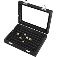 Pasutewel 7 Slots Velvet Glass Ring Jewellery Display Storage Box Tray Case Holder Earring Organizer Stand