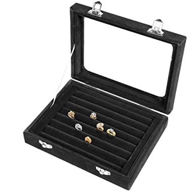 Basuwell Earring Storage 7 Slots Velvet Jewelry Tray for Drawers Glass Clear Lid Showcase Display Ring Organizer Earring Ring Trays Holder Cufflink Showcase-Black