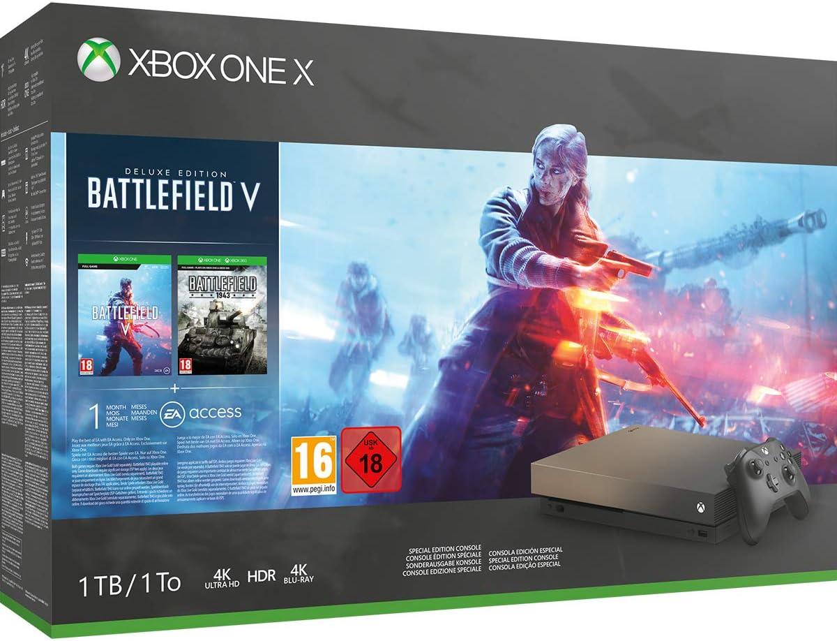 Xbox One X 1TB Gold Rush Special Edition console Battlefield V Bundle [Importación inglesa]: Amazon.es: Videojuegos