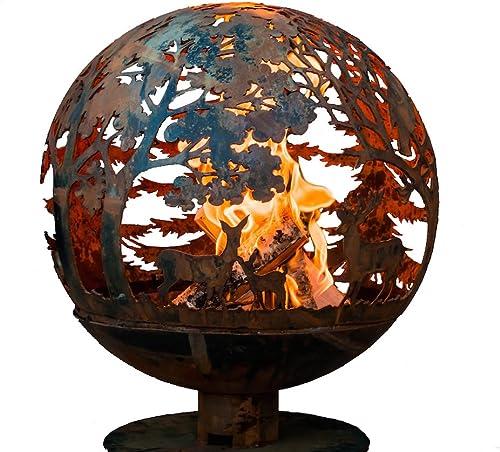 Esschert Design FF1012 Wildlife Fire Sphere, Rust Metal Finish – X Large
