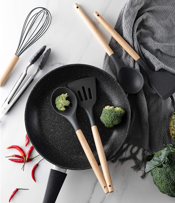 Kitchen Spatula Sets with Holder ZYYRSS Silicone Cooking Utensil Kitchen Utensils Set Light Green 11 Pieces Silicone Kitchen Utensil Wooden Handles