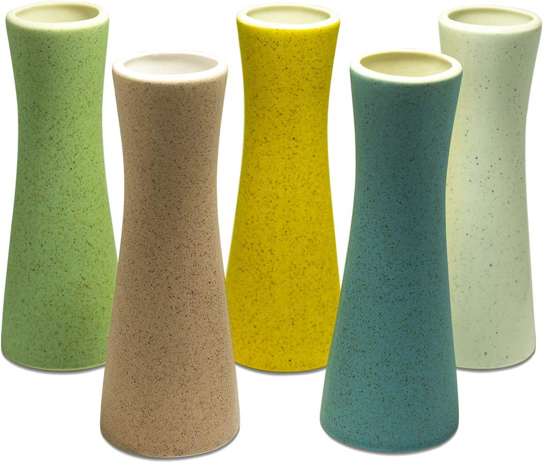 Home and Office Decor Ceramic Vase, Dr.Cerart Small Bowling Pin Shape Decorative Bud Flower Vases for Centerpieces, Wedding or Household Adornment-Set of 5 Colors