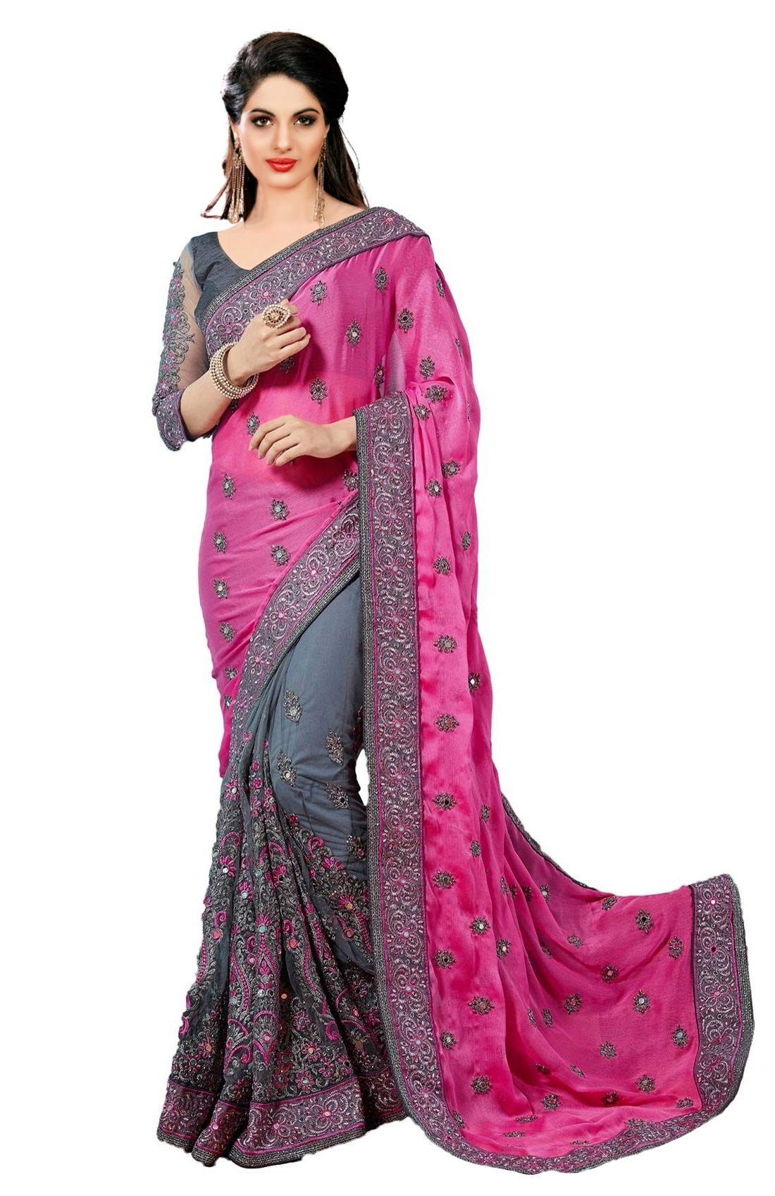 Nivah Fashion Satin & Net Embroidery Half & Half Saree with Blouse Piece(K608) product image