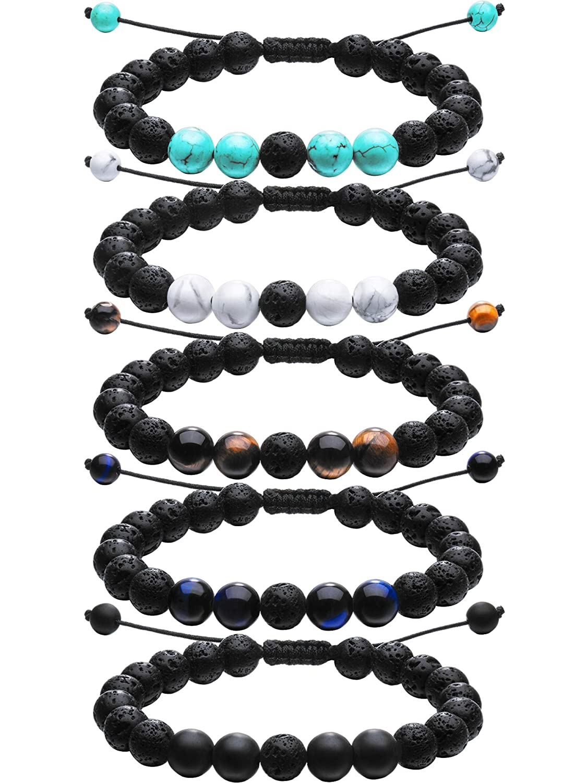 Tatuo Adjustable Lava Rock Stone Essential Oil Diffuser Bracelet Braided Rope Stone Yoga Beads Bracelets for Men Women Tatuo-Lava Bracelets-01