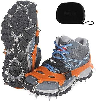 Unigear Crampons pour Chaussures Antidérapant avec Crampons en Acier Inoxydable à 18 Dents pour la Neige, la Glace, Les Randonnées, la Chasse et la