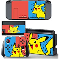 Ci-Yu-Online VINYL SKIN [NS] Pikachu Spark Red Blue STICKER DECAL COVER for Nintendo Switch Console and Joy-Con Controllers