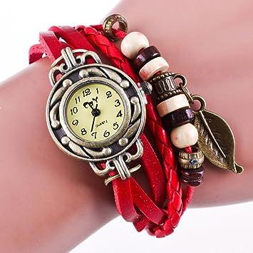 Kycut - Reloj de pulsera para mujer, diseño de hojas, color marrón: Amazon.es: Belleza