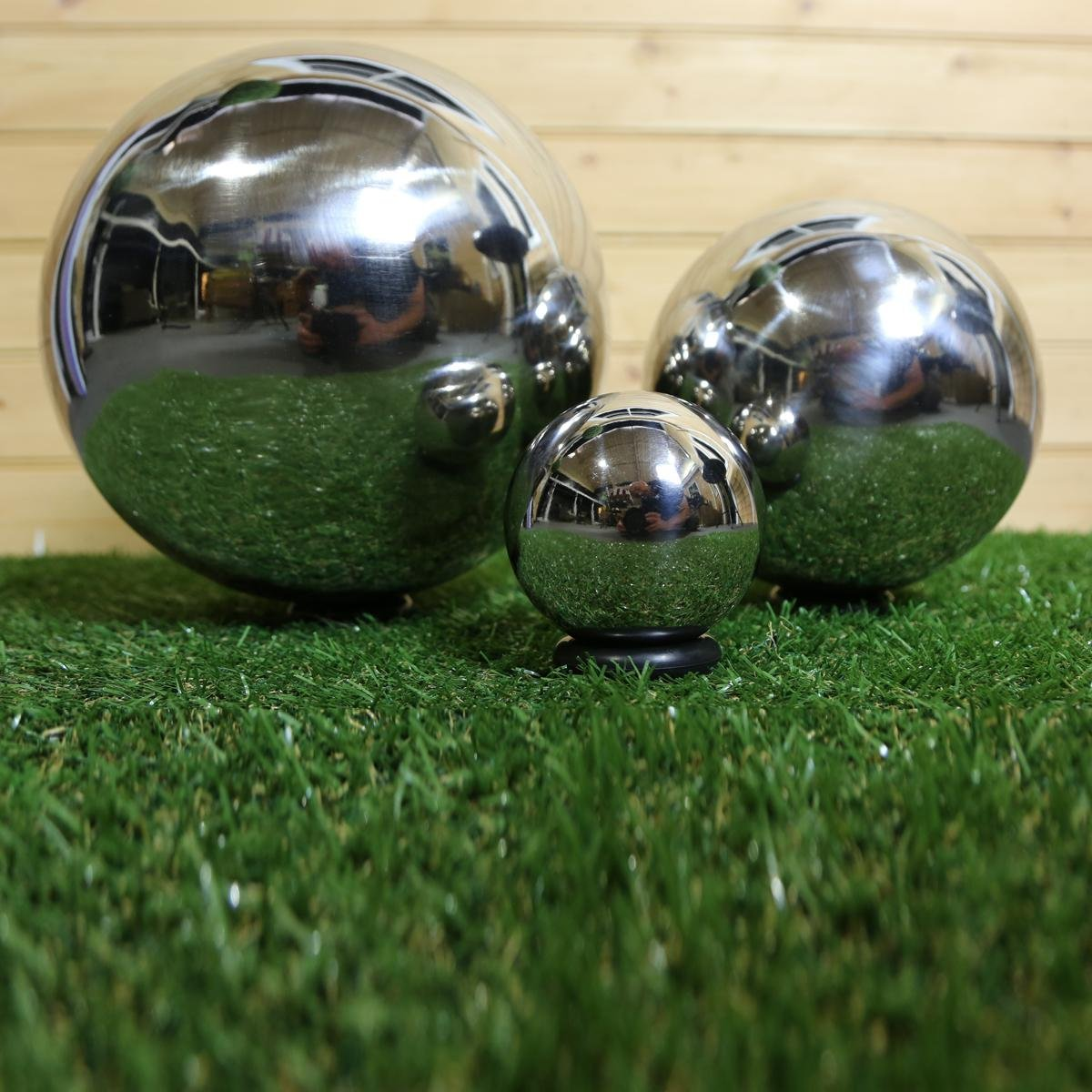 40cm Stainless Steel Sphere Decorative Garden Ornament: Amazon.co.uk ...