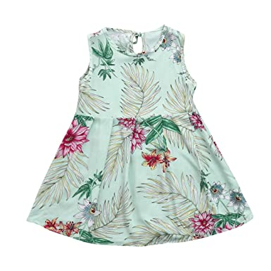 ShiTou Clothes- Toddler Kid Sleeveless Floral Printing Party Dress Outfits (Green, 160)