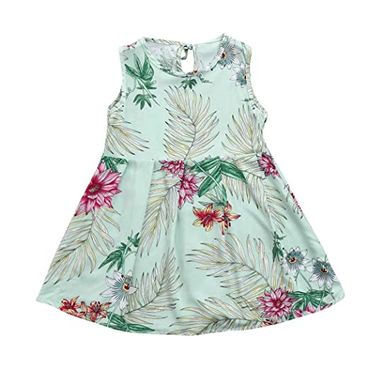 ShiTou Clothes- Toddler Kid Sleeveless Floral Printing Party Dress Outfits (Green, 150)