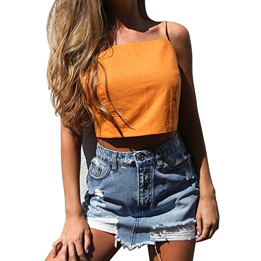 4e058bba279103 Women's Sexy Bow Back Tank Top Spaghetti Strap Sleeveless Crop Top(US  8-10/Tag Size XL, Orange) at Amazon Women's Clothing store:
