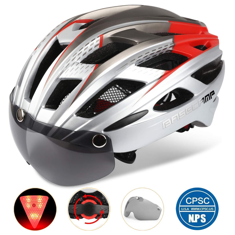 [Base Camp] [自転車ヘルメット、軽量自転車ヘルメット CPSC 認定特殊なサイクリングヘルメットリムーバブルバイザー & 安全ライト] (並行輸入品)   B07HTK6QLV