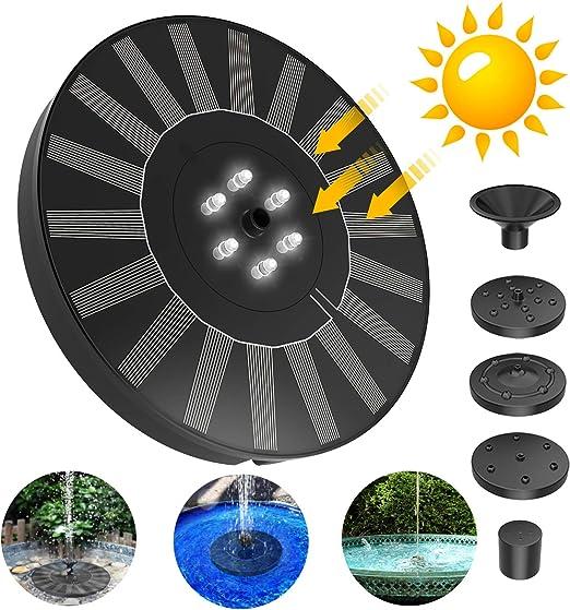 FYLINA - Fuente solar con luz LED, 2,4 W, bomba solar para estanque exterior con panel solar, batería incorporada con 5 estilos de fuente para jardín, pájaro, estanque, contenedor de pescado: Amazon.es: Jardín