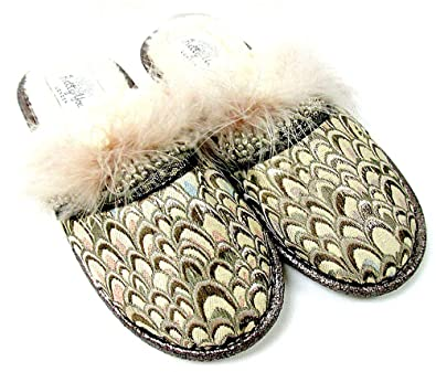 f3ee420ec3d Amazon.com  Pretty You London Women s Slippers- Heather in Gold (Small 5-6)   Shoes