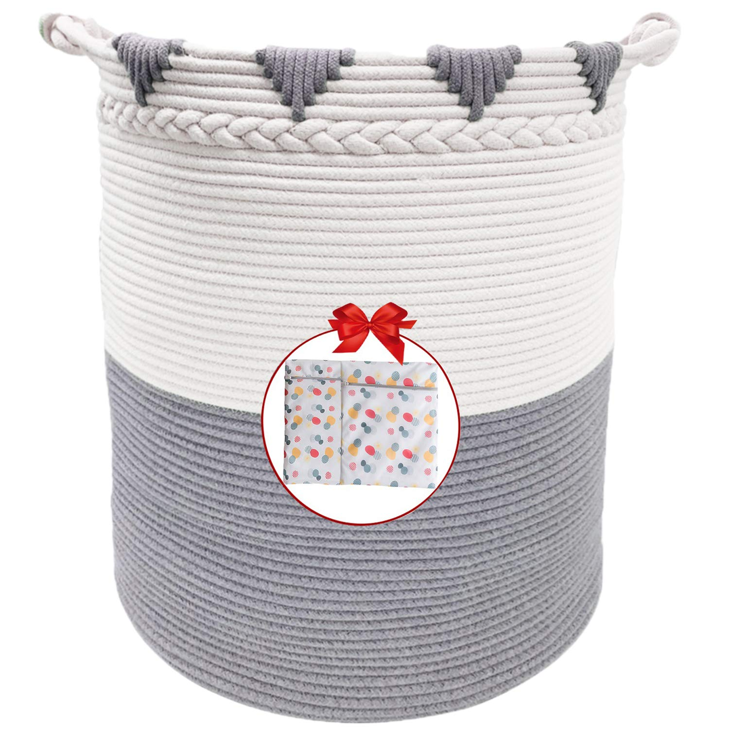 "TerriTrophy XXXL Large Laundry Hamper with Handles Tall Basket Cotton Rope Basket 22""x16""x 16"" Woven Laundry Basket Blanket Storage Baskets for Towel, Throws, Toys, Diaper, Hamper"