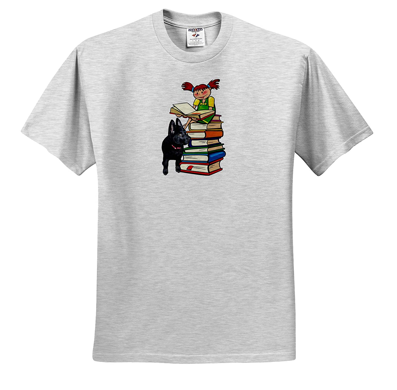 3drsmm T-Shirts 3dRose Sandy Mertens Dog Designs Study Buddy GSD Puppy with School Girl on Books