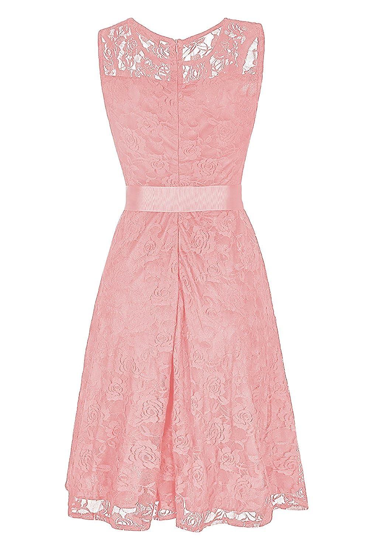 NALATI Women\'s Floral Lace Short Bridesmaid Dress Sheer Neckline ...