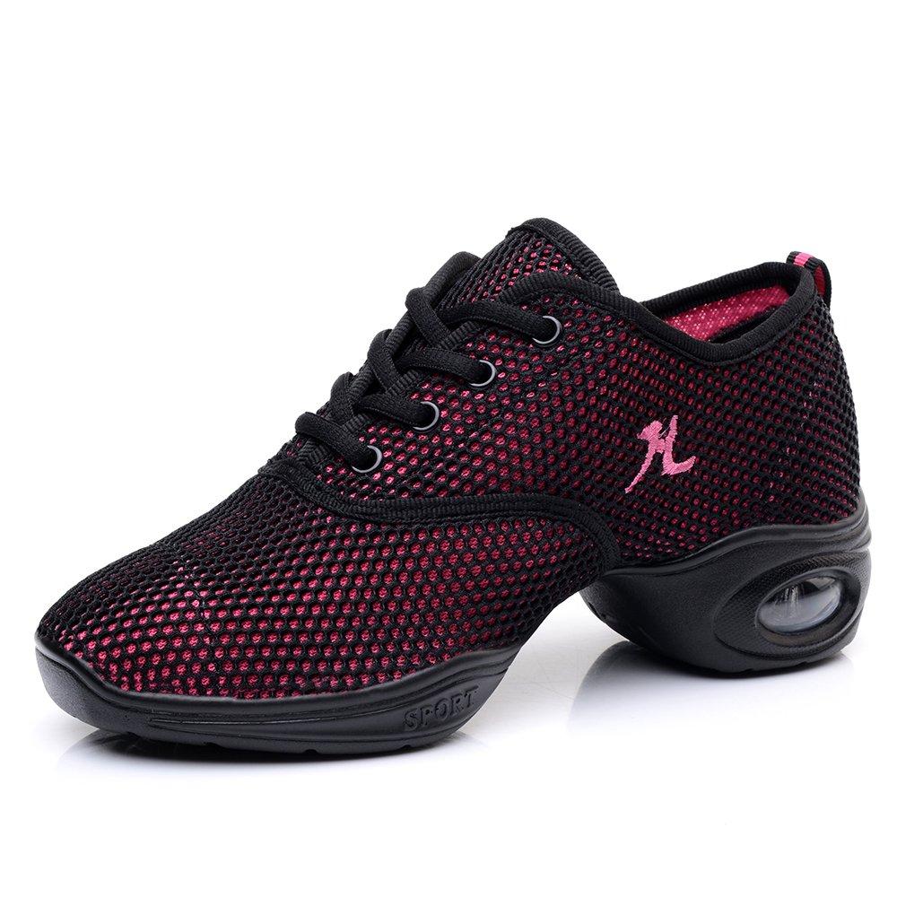 Yuanli Women's Mesh Ballroom Dance Shoes Lightweight Jazz Shoes Pink 6.5 B(M)