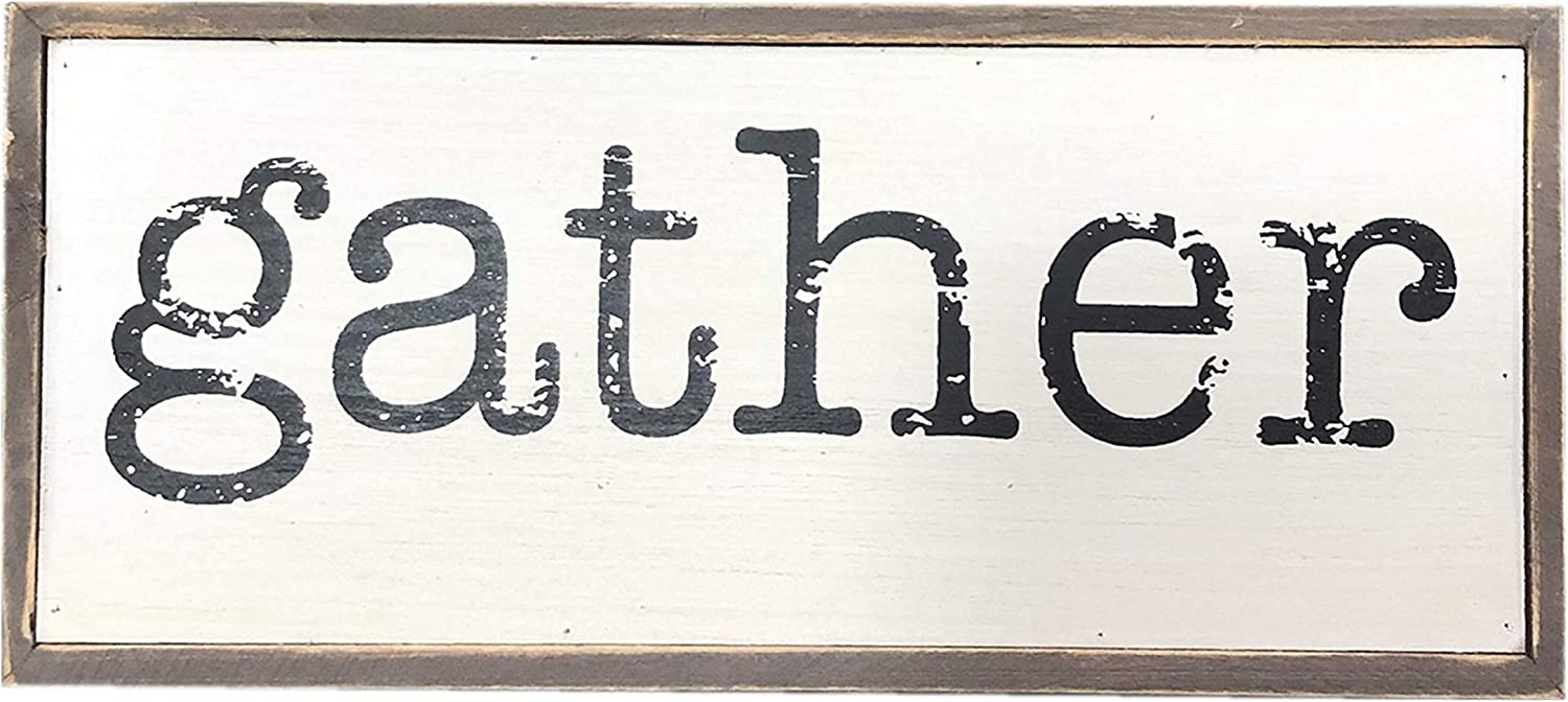 Parisloft Gather Rustic Wood Block Signs for Home Decor, Small Cute Farmhouse Solid Pine Wood Signs Decor