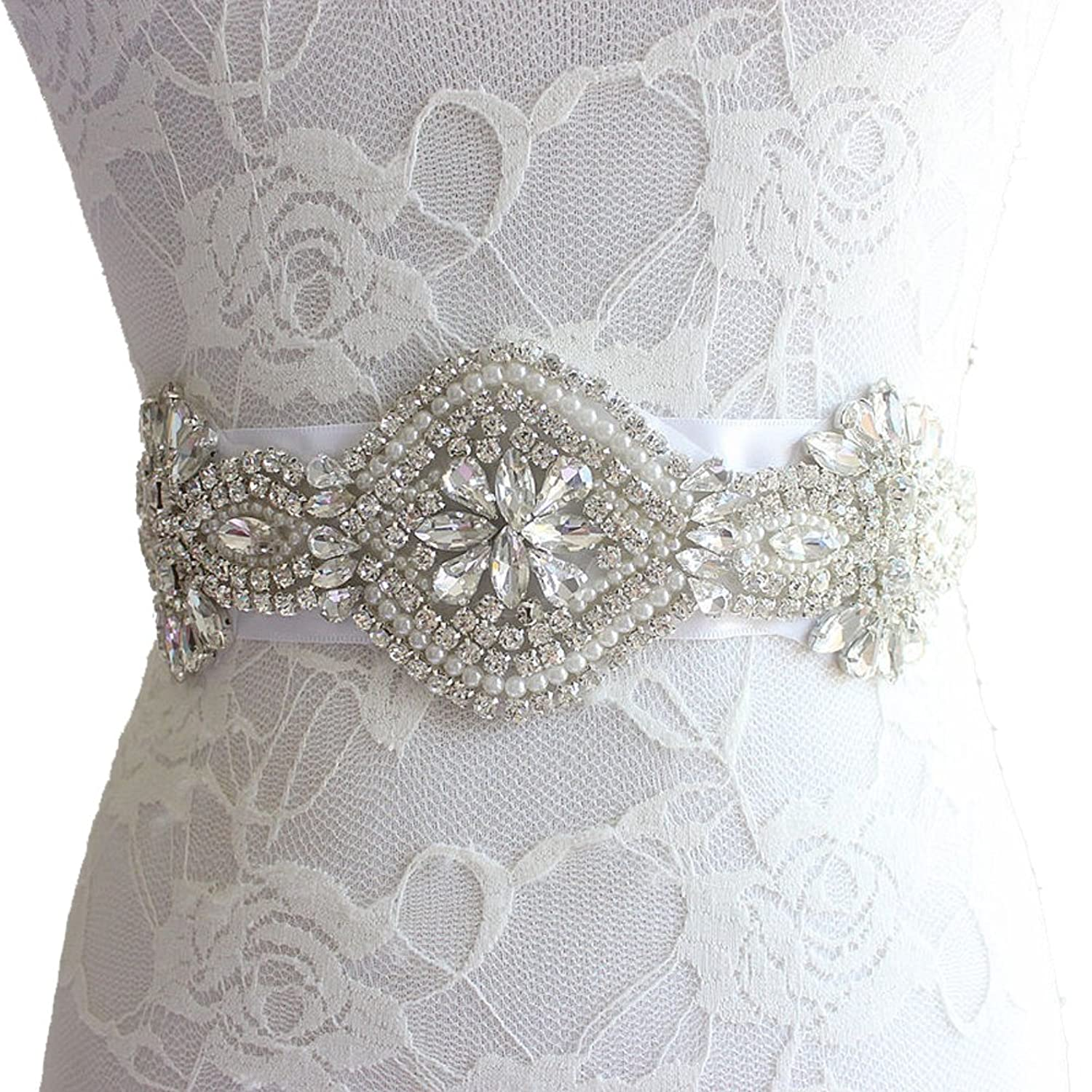 E-Clover Rhinestone Beaded Satin Bridal Wedding Sash Belt for Dress