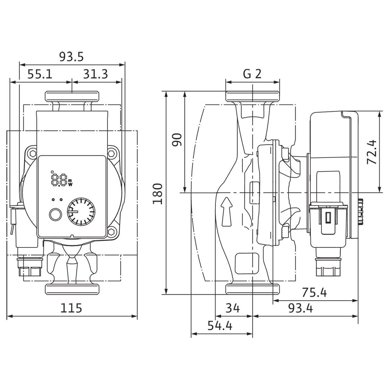 Wilo Wilo Pompe /à haut rendement Yonos PICO plus rotor humide type 30//1-6 Rp 1 1//4 G 2 180mm