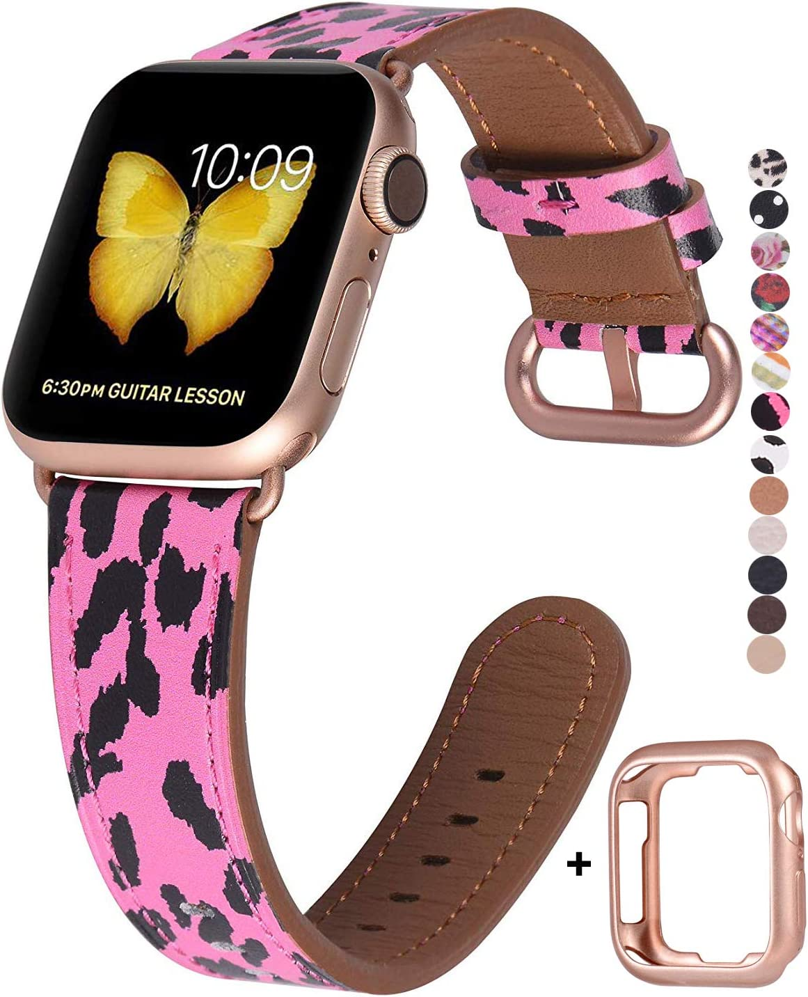 JSGJMY Compatible with Apple Watch Band 38mm 40mm Women Genuine Leather with Rose Gold Adapter and Buckle(The Same Color as Series 5/4/3 Gold Aluminum) for iwatch Series 5/4/3/2/1, Hot Pink Leopard