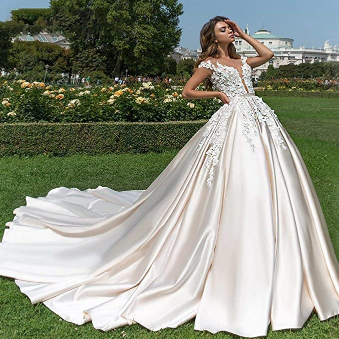 Vestiti Da Sposa Da Principessa.Hin Gu Wedding Dress Vestito Da Sposa Sexy Scollo A V Morbido