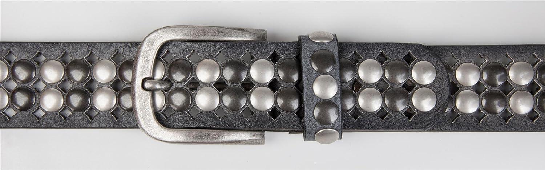 styleBREAKER cintura con borchie in design vintage con borchie chiare e scure accorciabile unisex 03010060 perforazione su tutta la superficie