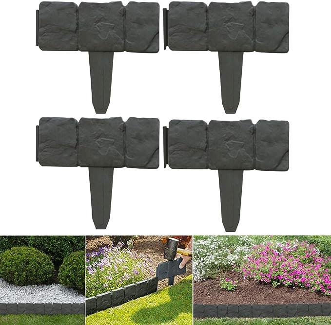 Schone Products (UK) Flexible, 1 metro, borde de plástico gris carbón para jardín, 4 piezas entrelazadas juntas: Amazon.es: Jardín
