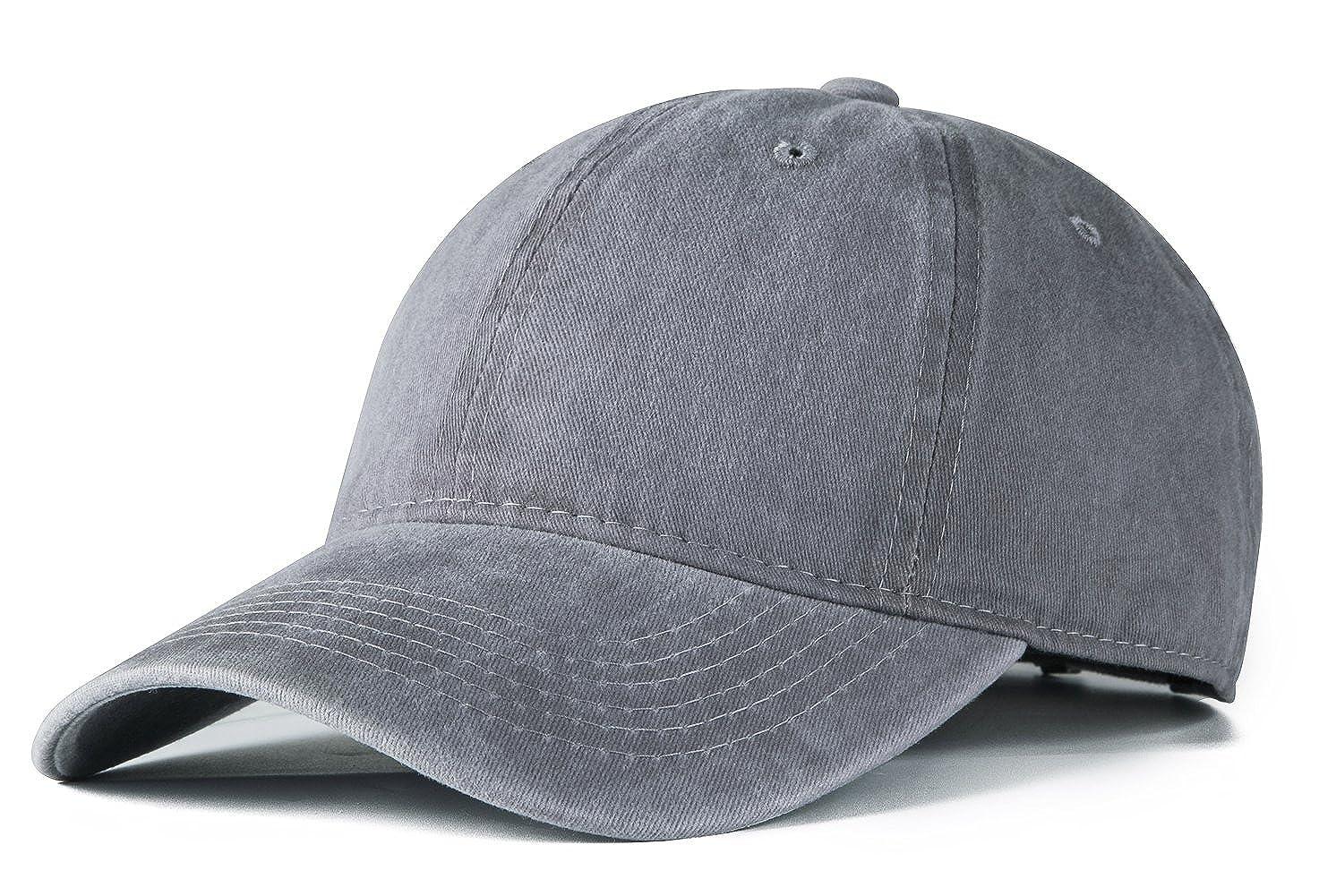 4fe0fbd5e97 Edoneery Men Women Cotton Adjustable Washed Twill Low Profile Plain  Baseball Cap Hat (Grey) at Amazon Women s Clothing store