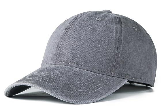5c1f5ce6bb8 Edoneery Men Women Cotton Adjustable Washed Twill Low Profile Plain Baseball  Cap Hat (Grey) at Amazon Men s Clothing store