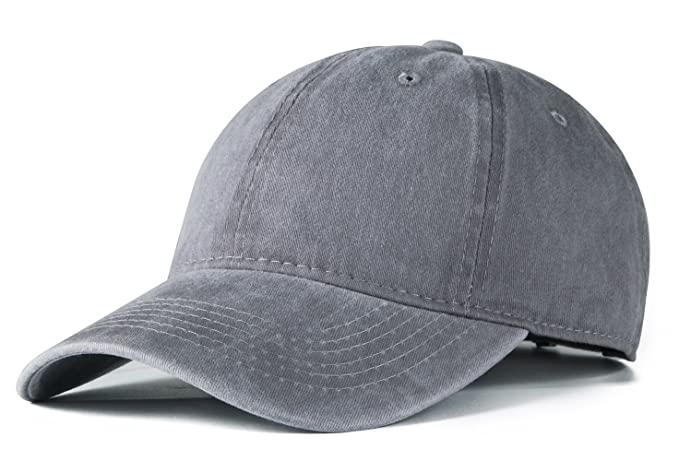 172cfe4e136 Edoneery Men Women Cotton Adjustable Washed Twill Low Profile Plain Baseball  Cap Hat (Grey)