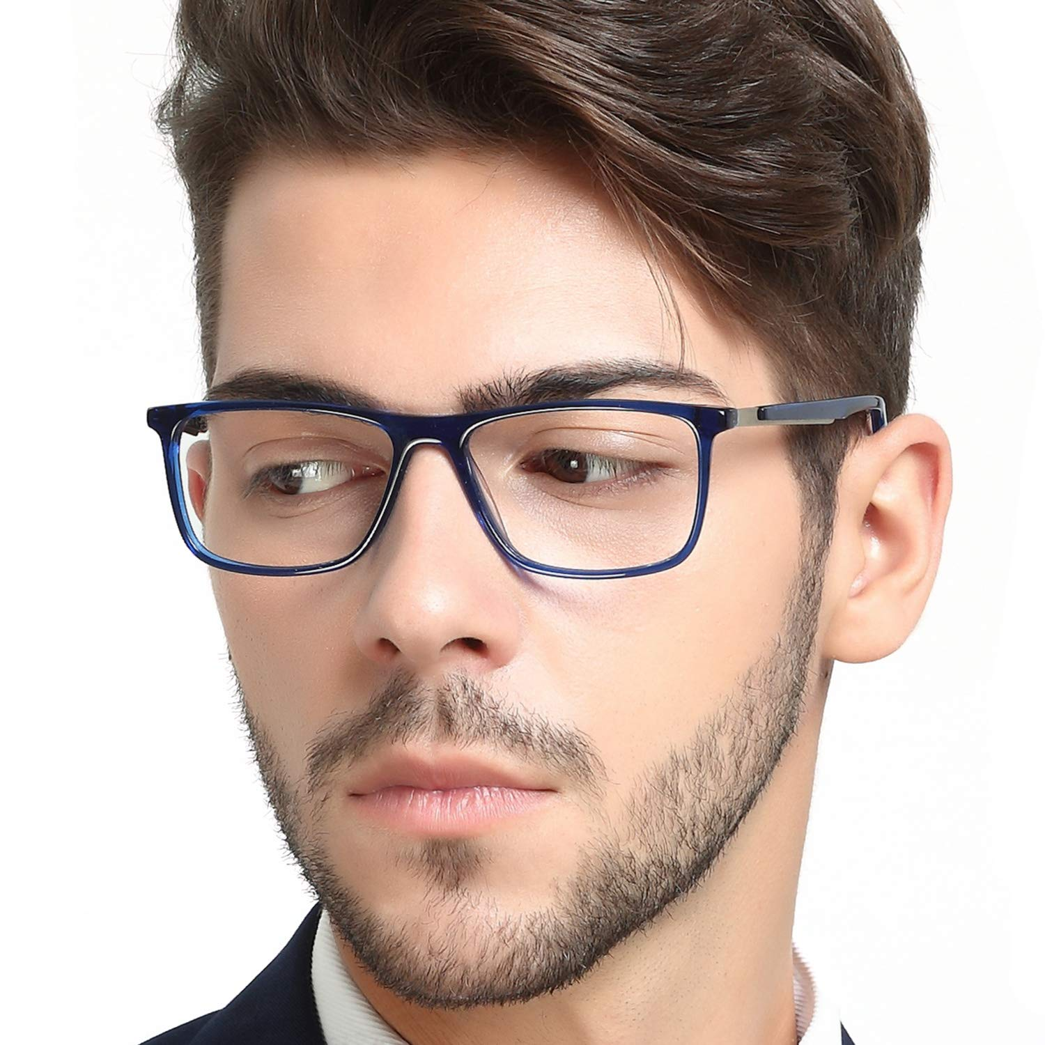 OCCI CHIARI Optical Eyewear Non-prescription Fashion Glasses Eyeglasses Frame with Clear Lenses For Men Blue Light Blocking ATENE-C1