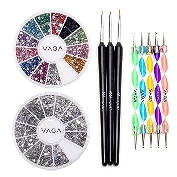 VAGA Nail art supplies acrylic nail kit with 5 Nail dotting tools, nail art  brushes 3pc nail brush set, nail gems and...