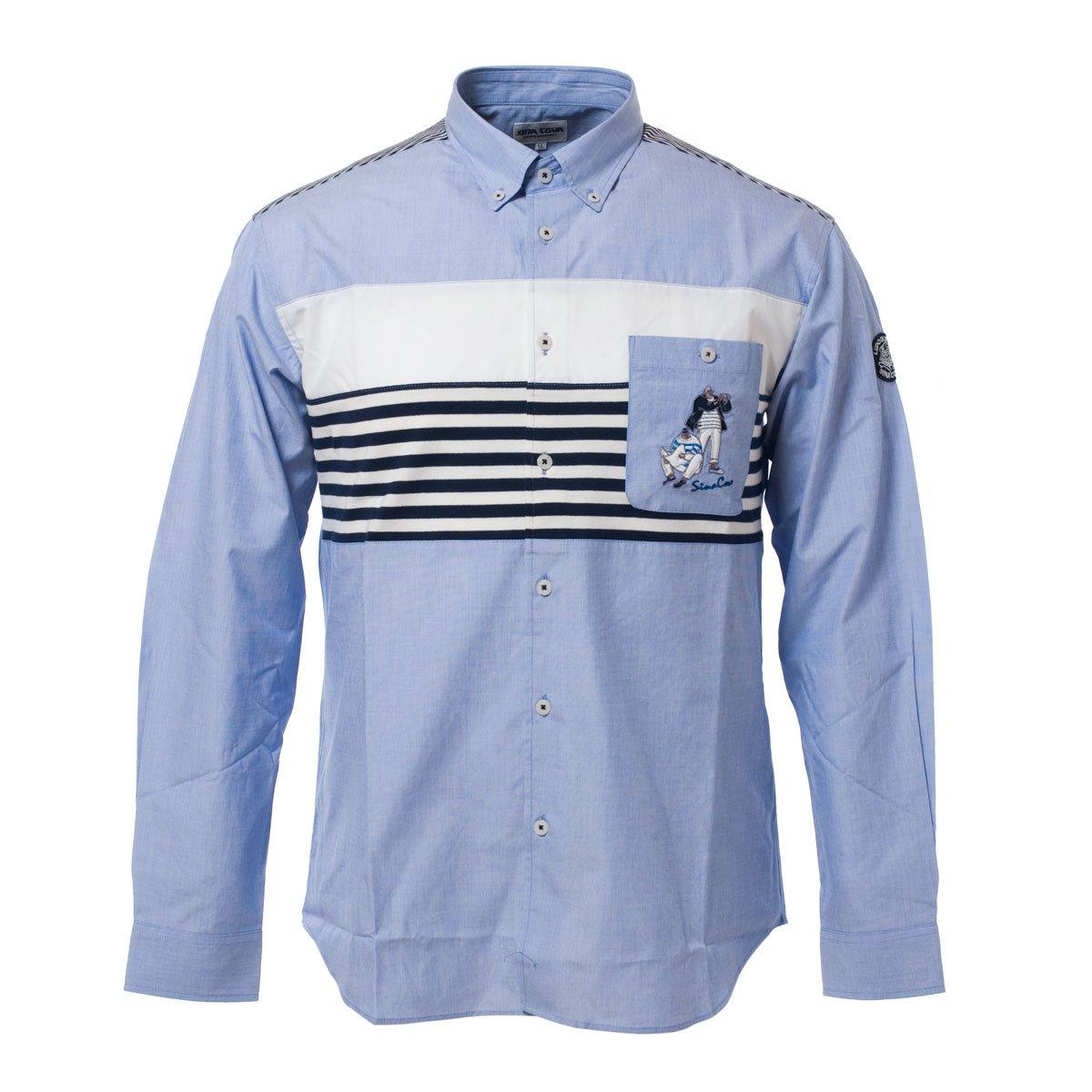 SINA COVA SINACOVA Men's Long Sleeve Shirt Blue Medium