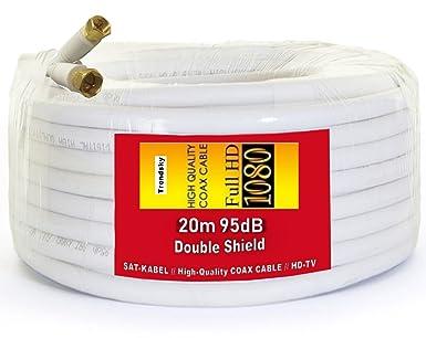 TRENDSKY® - Cable coaxial para satélite (20 m, cobre, para Full HD TV, 3D, DVB-S / S2 DVB-C y DVB-T BK): Amazon.es: Industria, empresas y ciencia