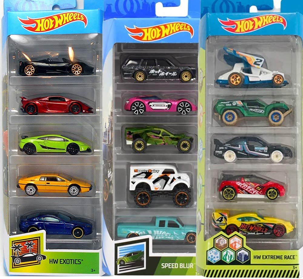 Hot Wheels Pack 3 HW Exotics, HW Extreme Race y Speed Blur: Amazon ...