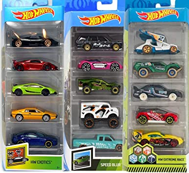 Hot Wheels Pack 3 HW Exotics, HW Extreme Race y Speed Blur ...