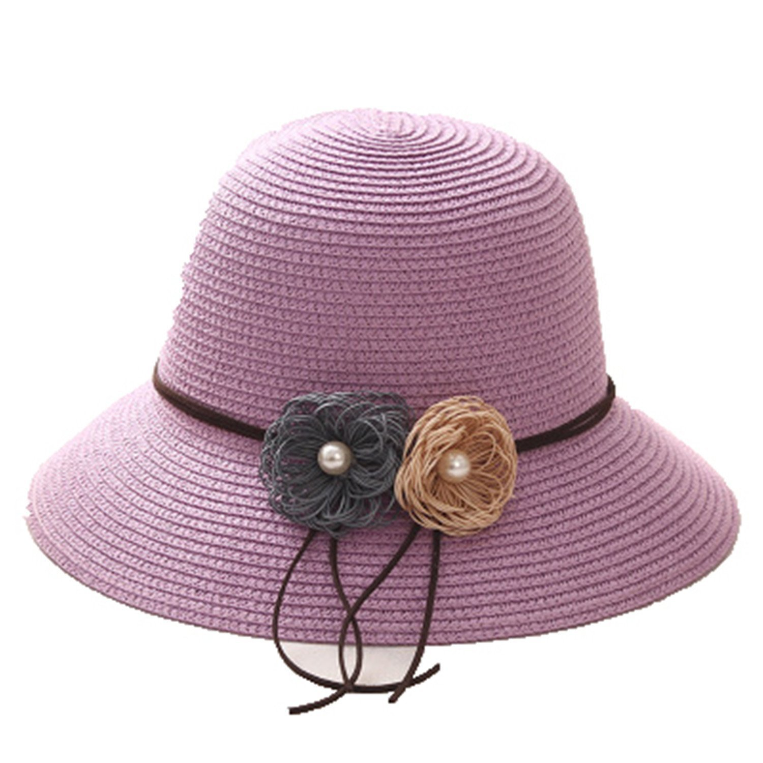 Women Hats with Flower Lady Summer Beach Sun Hats Solid Female Straw Bucket Hats Packable Wide Brim Hats,Purple
