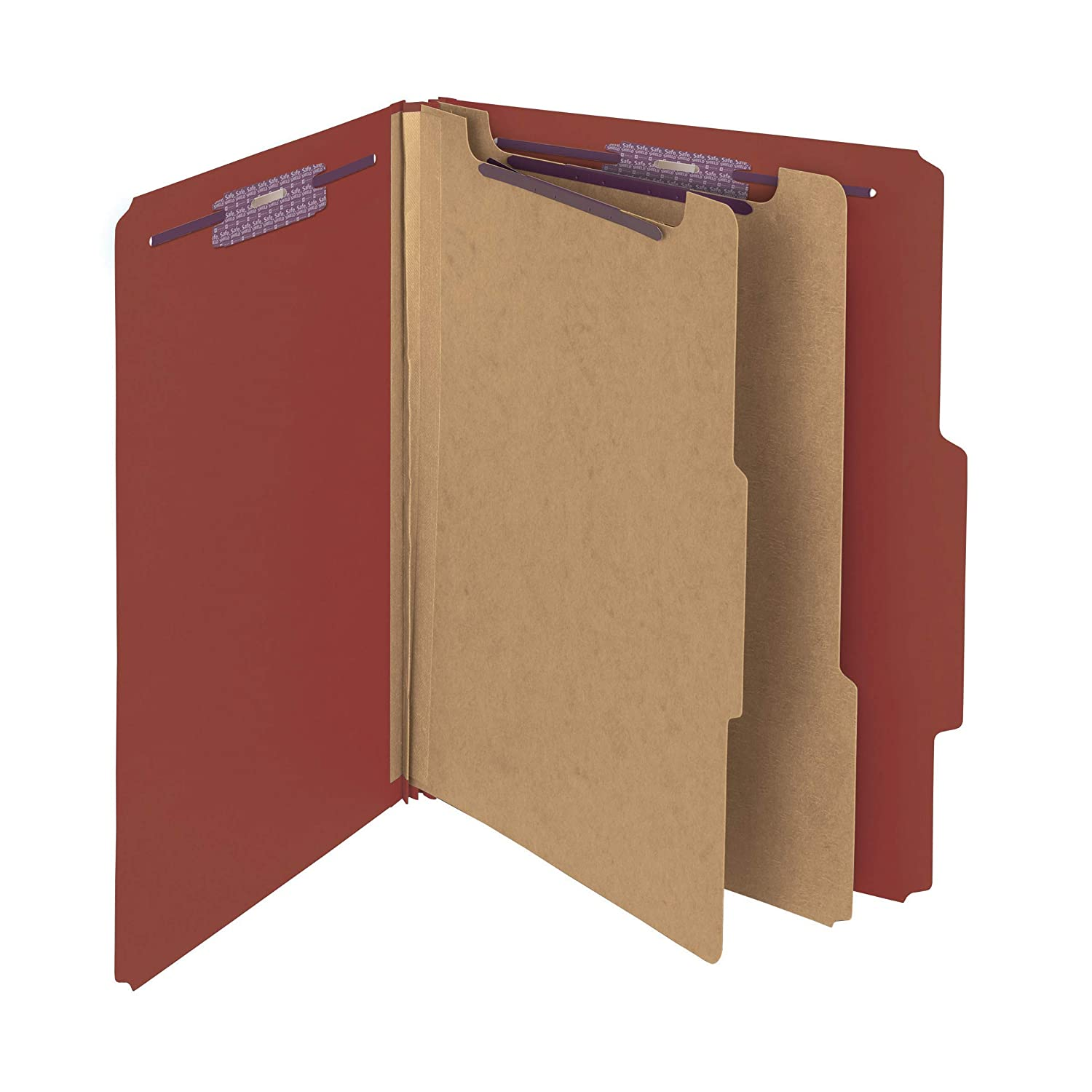 "Smead Pressboard Classification File Folder with SafeSHIELD Fasteners, 2 Dividers, 2"" Expansion, Letter Size, Red, 10 per Box (14073)"