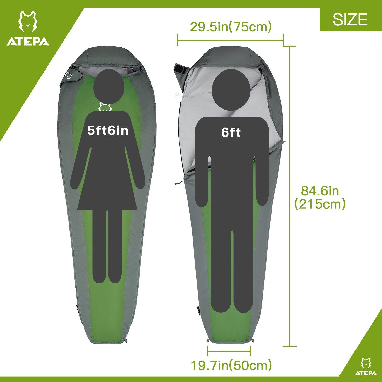 ATEPA Ultra-light Durable Comfort 3-season 32 Degree F/ 41 Degree F Envelope Adult Sleeping Bag (41 Degree / Green, Right Hand)