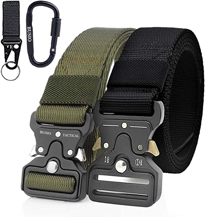 Nylon Military Belt with Quick-Release Metal Buckle BESTKEE Men Tactical Belt 1.5 Inch Heavy Duty Belt Gift with Tactical Molle Pouch and Hook