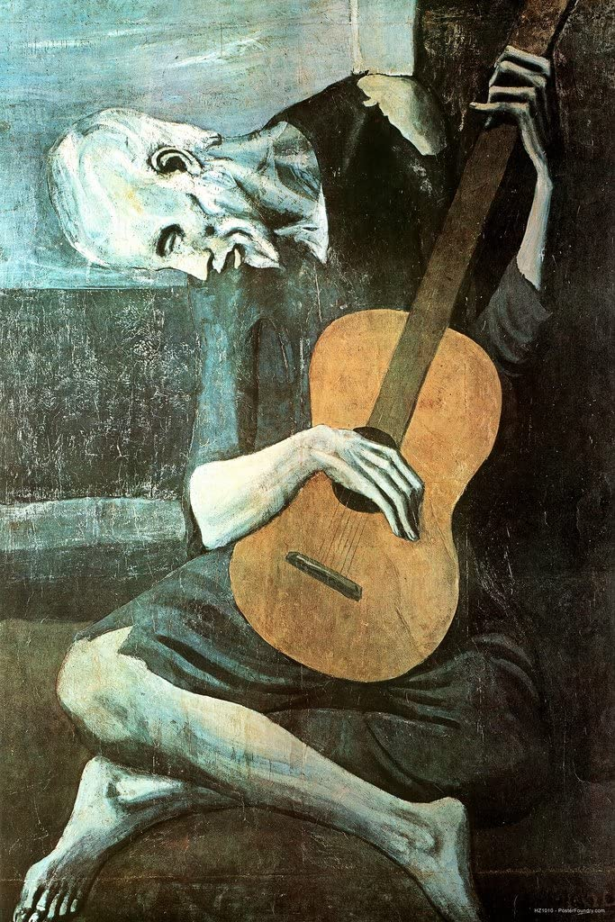 Pablo Picasso The Old Guitarist Home Painting Replica Dorm Room Kitchen Artistic Cool Wall Decor Art Print Poster 24x36