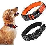 PETFON Reflective Premium Dog Collar Adjustable Soft Neoprene Padded Breathable Nylon Heavy Duty Collars for Dogs (Orange, M(