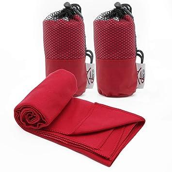 Decocasa Pack 2 Toallas Microfibra Compactas, Ligeras y Absorbentes, 40x80 Rojo: Amazon.es: Hogar