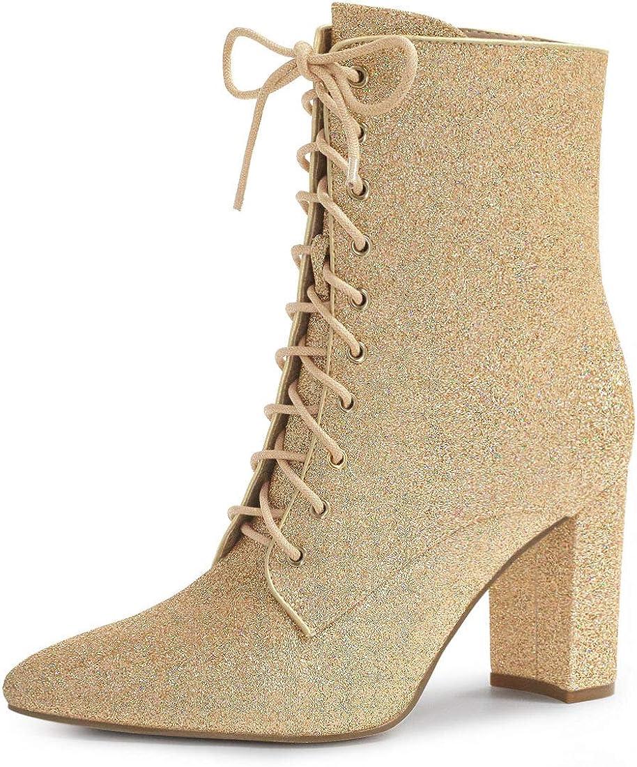 Allegra K New sales Women's Glitter Pointed Block Dallas Mall Heel Toe Ankle Halloween