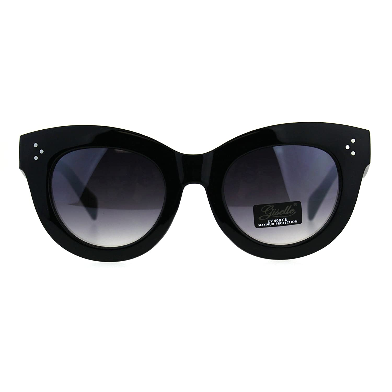 c52dbf095ad8 Amazon.com  Womens Thick Horn Rim Plastic Giselle Designer Sunglasses All  Black  Clothing