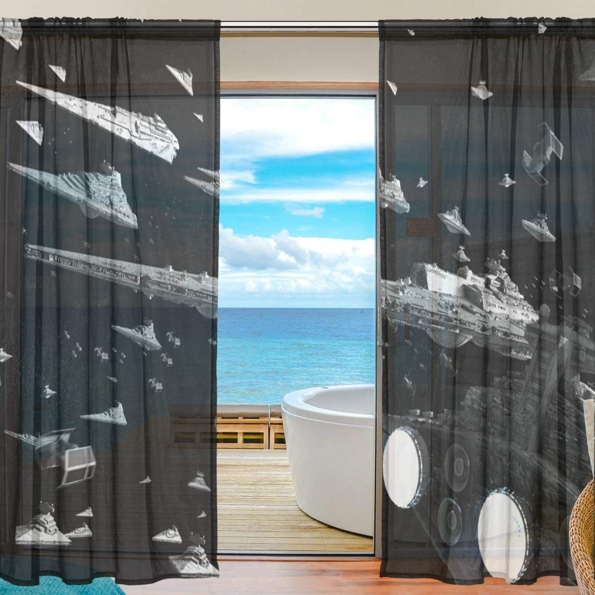 Meroy Fowler Star Wars Tulle Curtain Sheer Curtains Drapery Window Treatment Curtain 2 Panels Each 55 x 84 Inch for Living Room Voile Drapes Bedroom Kitchen Window
