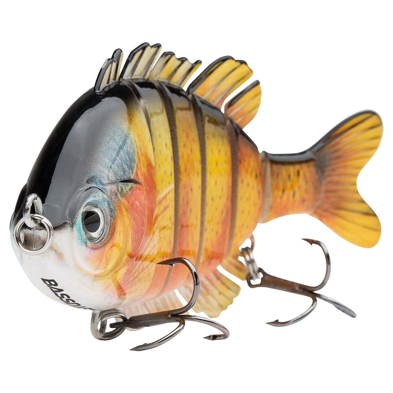 Bassdash SwimPanfish Multi Jointed Panfish Bluegill Swimbaits Topwater Hard Bass Fishing Crank Lure 3.5in/0.85oz, 4 Colors (Orange Sunfish) by Bassdash